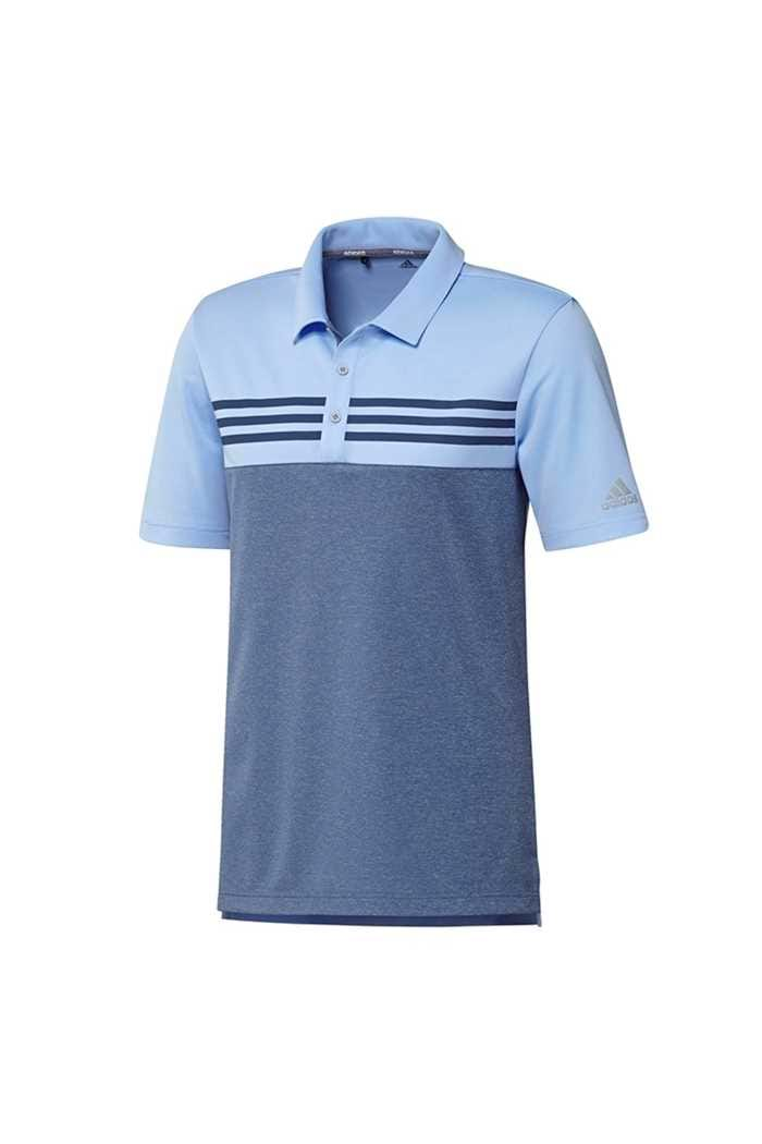 Picture of adidas zns Men's Heather Block Polo Shirt - Glow Blue Melange