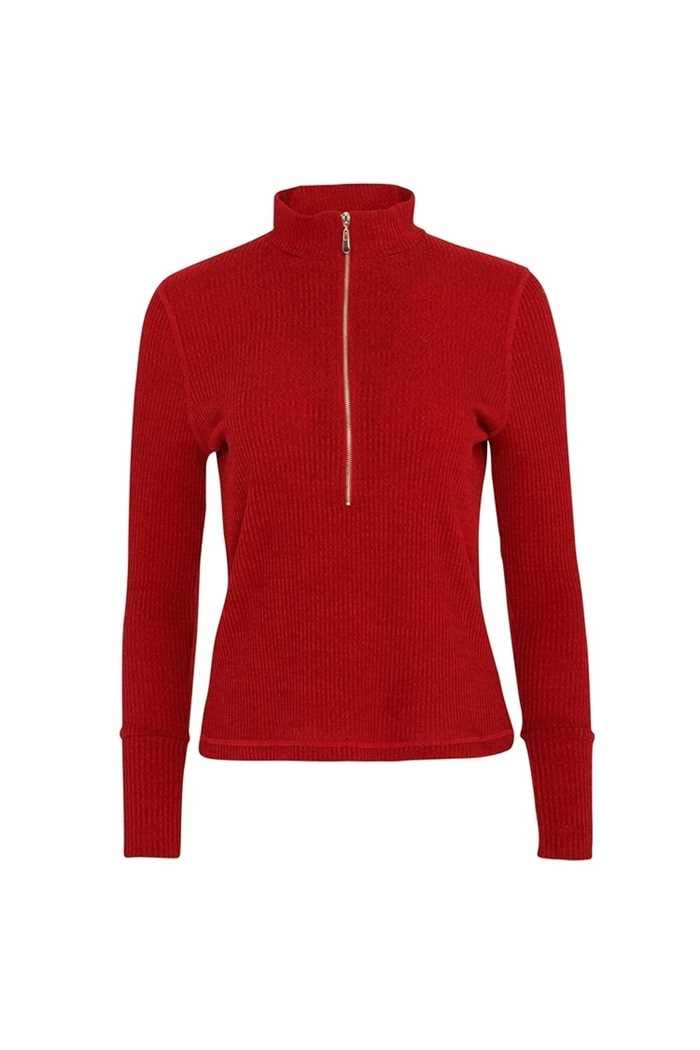 Picture of Swing out Sister Ladies Evelyn 1/4 Zip Turtle Neck Sweater - Chilli Red