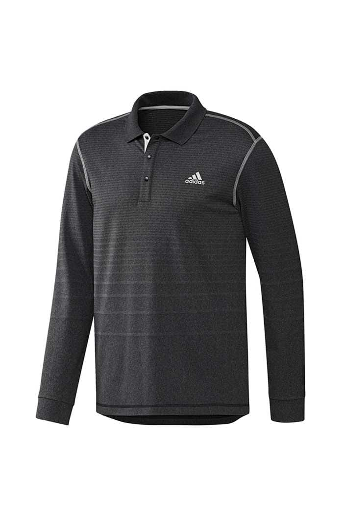 Picture of adidas Golf Men's Long Sleeve Thermal Polo Shirt - Black Heather