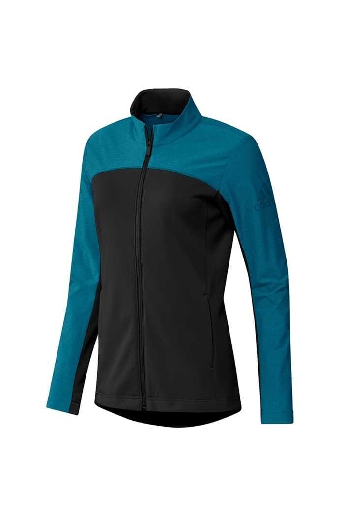 Picture of adidas Golf Ladies Go To Full Zip Jacket - Black / Active Teal