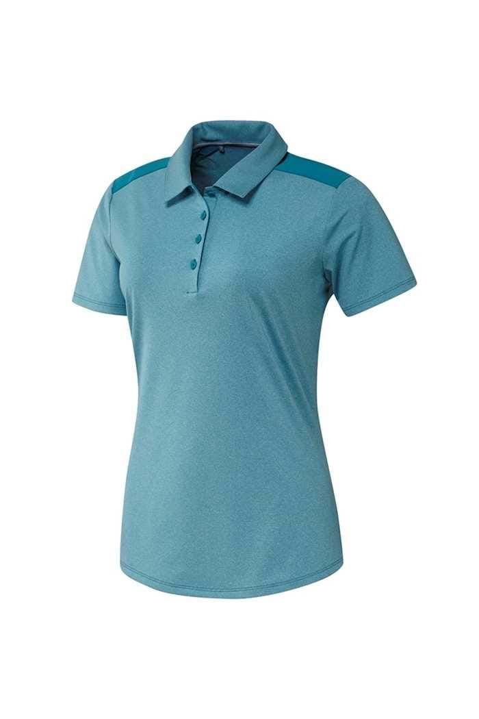 Picture of adidas Golf zns Ladies Ultimate Heather Short Sleeve Polo Shirt - Active Teal Mel