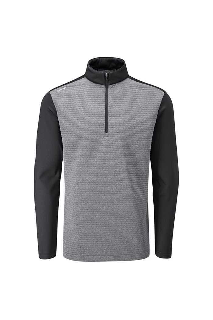 Picture of Ping Golf Men's Phaser Half Zip Fleece Top - Asphalt Marl / Black