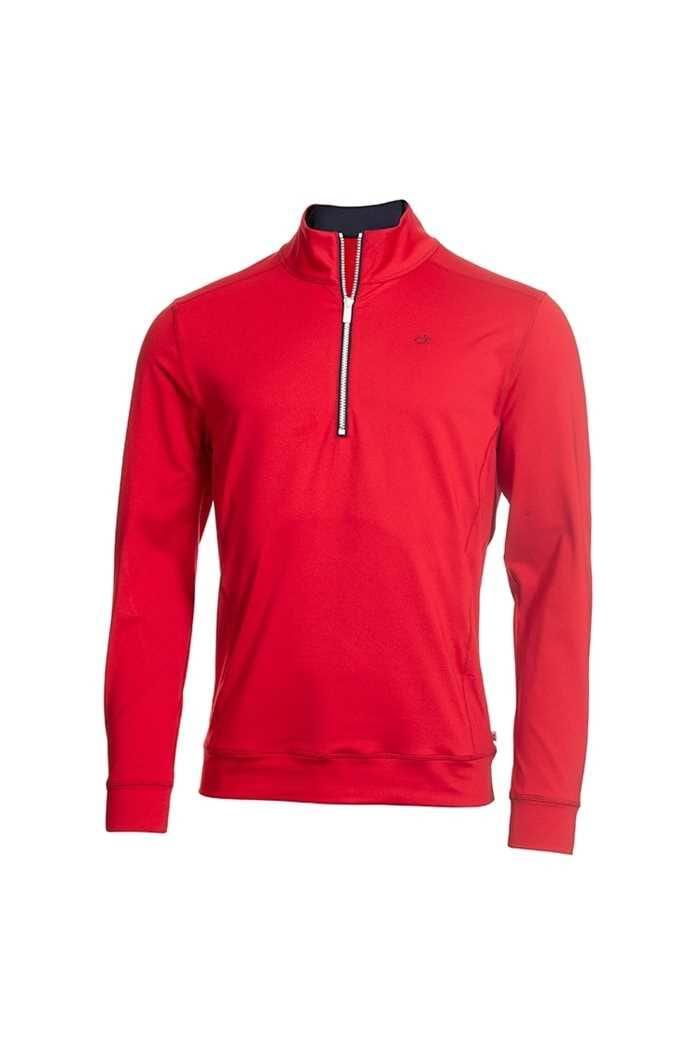 Picture of Calvin Klein ZNS Men's Golf Galaxy Half Zip Top - Red / Navy