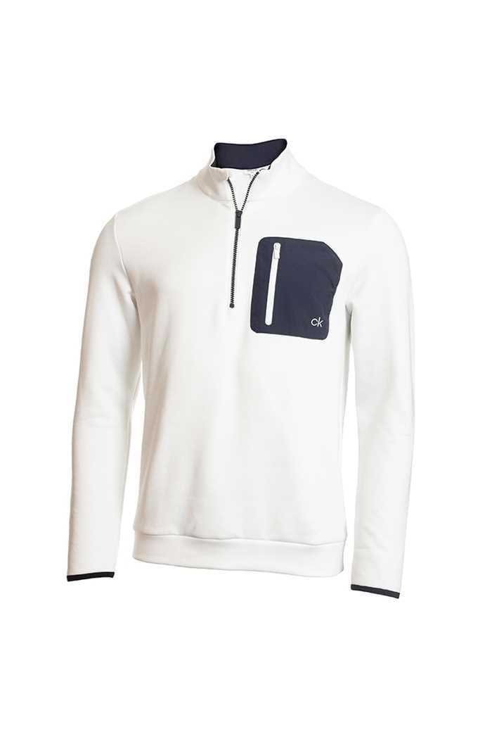 Picture of Calvin Klein Men's Golf Voyage Half Zip Sweater - White