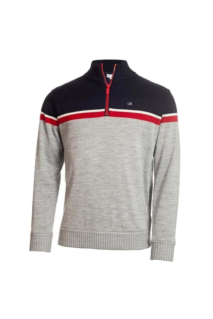 Picture of Calvin Klein ZNS Men's Golf Compass Lined Sweater - Grey / Navy