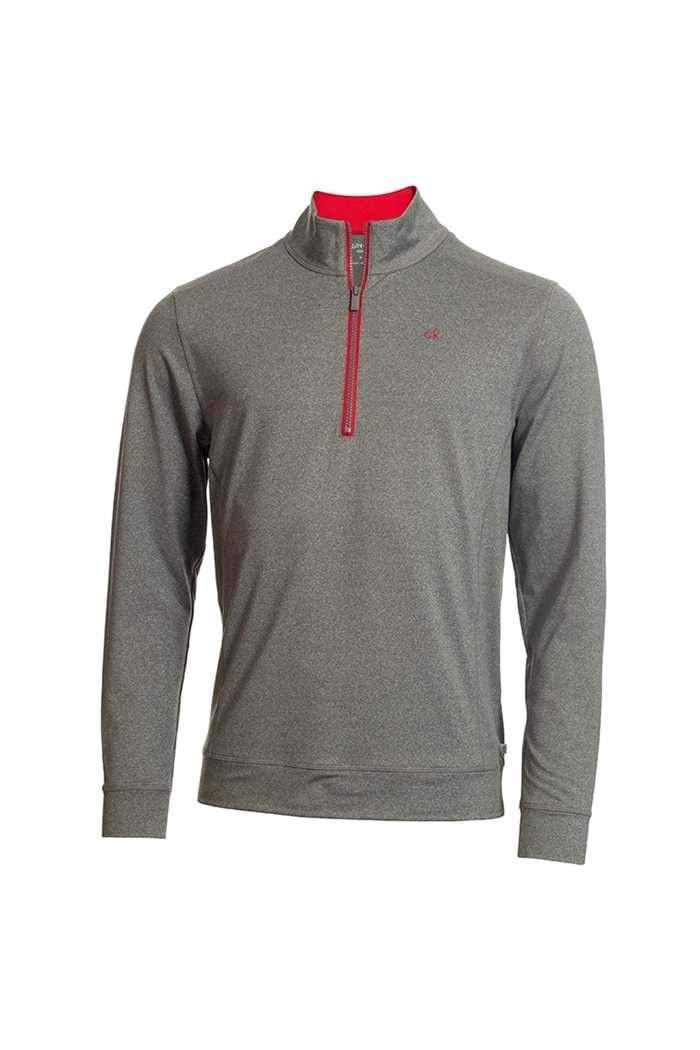Picture of Calvin Klein Men's Golf Galaxy Half Zip Top - Silver / Red