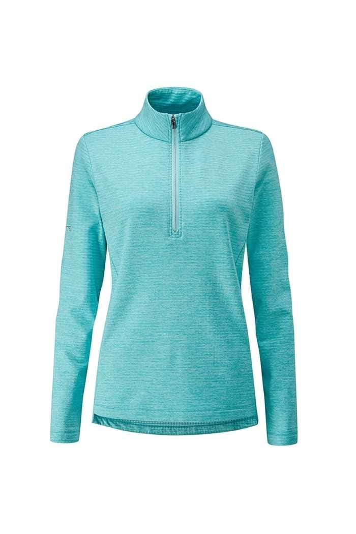 Picture of Ping Golf Ladies Escape Half Zip Fleece Top - Aqua Marl