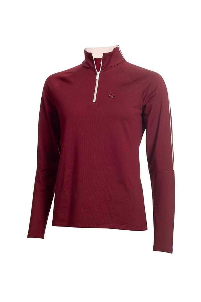 Picture of Calvin Klein Golf Ladies Aquila Zip Neck Top - Burgundy