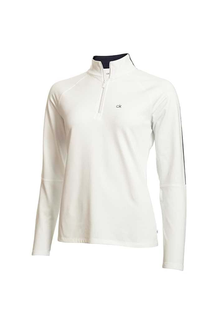 Picture of Calvin Klein Golf Ladies Aquila Zip Neck Top - Natural
