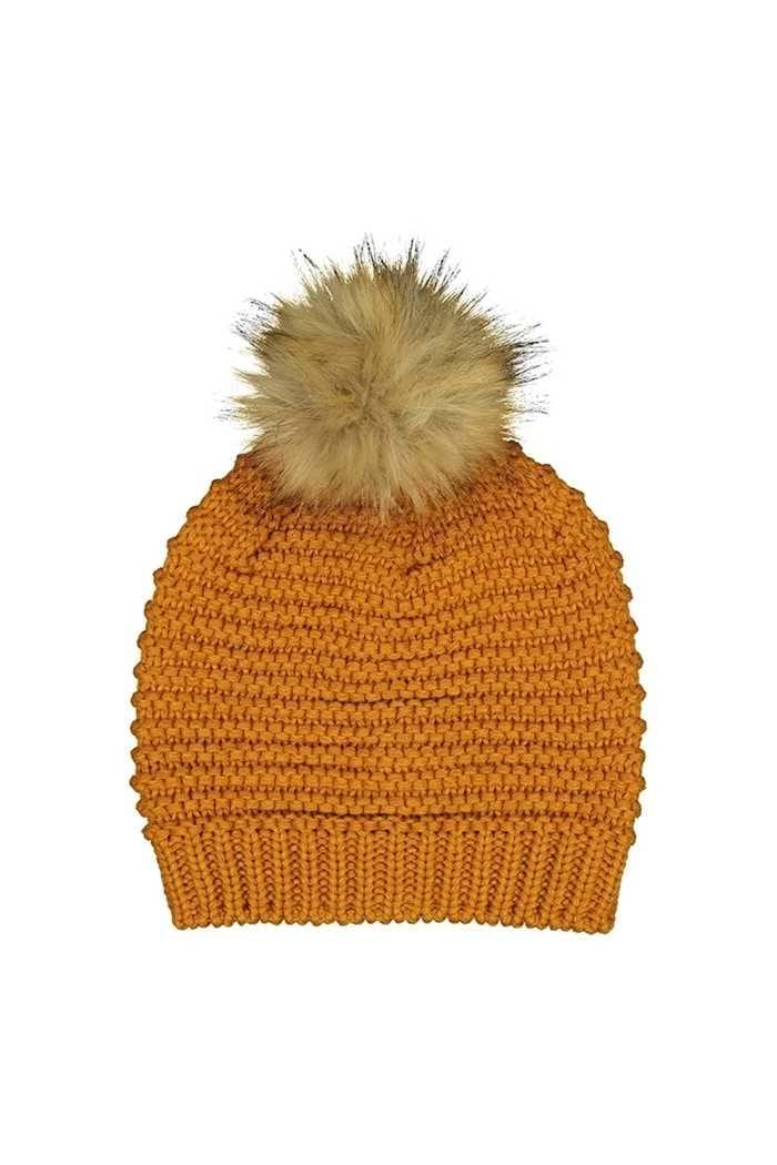 Picture of Catmandoo Ladies Ilo Reverse Knit Beanie - Yellow Autumn