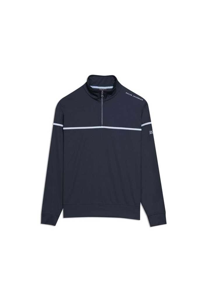Picture of Oscar Jacobson Men's Bill Course Half Zip Pullover - Blue 210