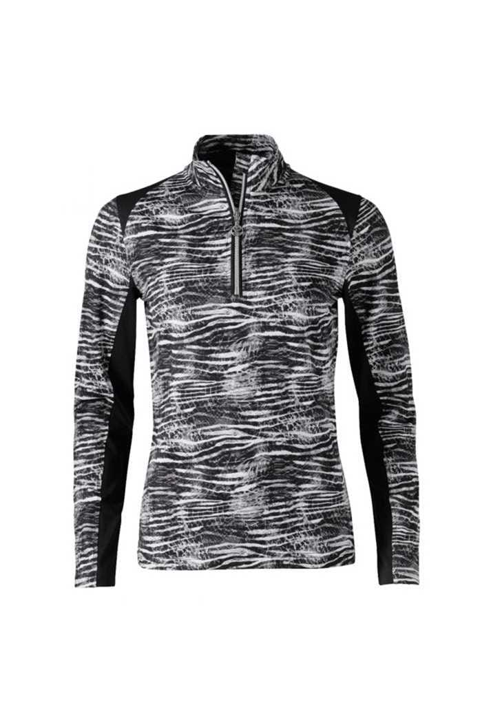 Picture of Daily Sports Ladies Zerena Long Sleeve Zip Neck Top - Black 999