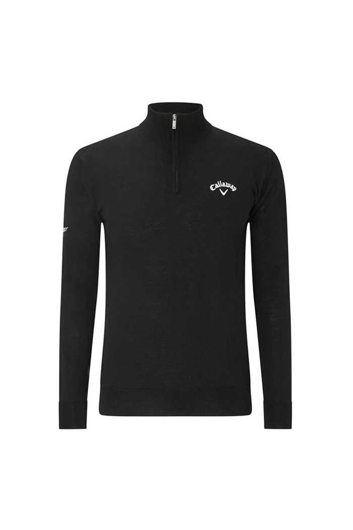 Picture of Callaway Golf Men's 1/4 Zip Blended Merino Sweater - Black Ink