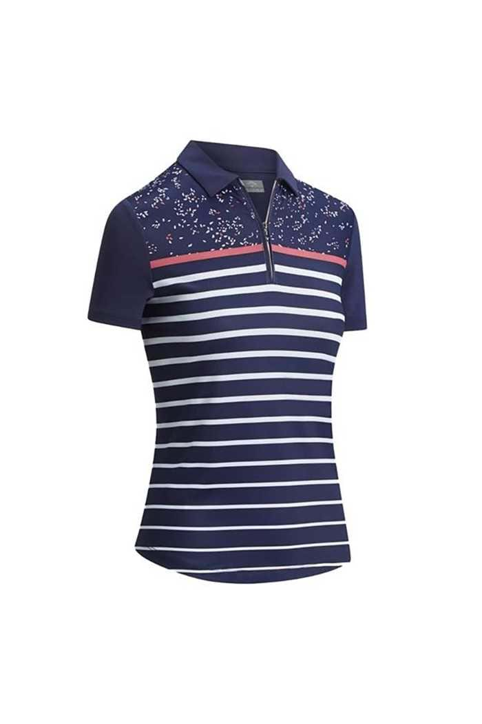 Picture of Callaway zns Ladies Confetti Print Polo with Stripes Top - Peacoat 410