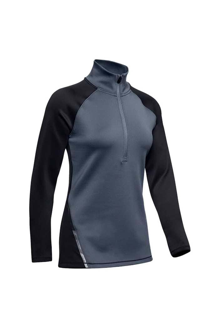 Picture of Under Armour UA Ladies Coldgear 1/2 Zip Colour Block Top - Black 001