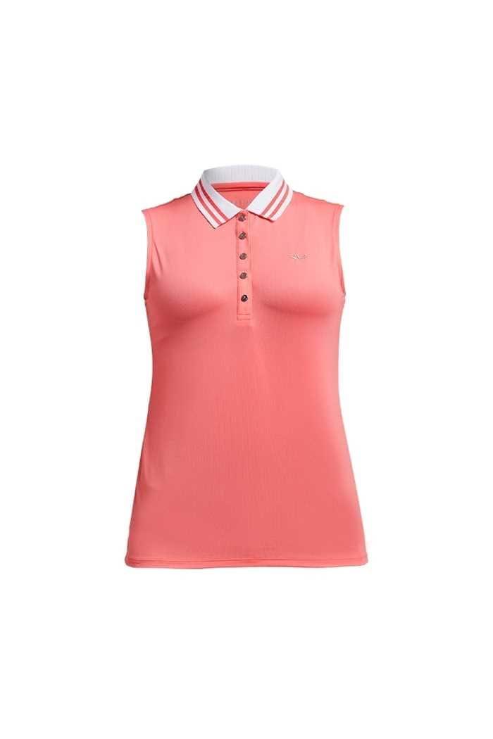 Picture of Rohnisch Ladies Stripe Sleeveless Polo Shirt - Sugar Coral