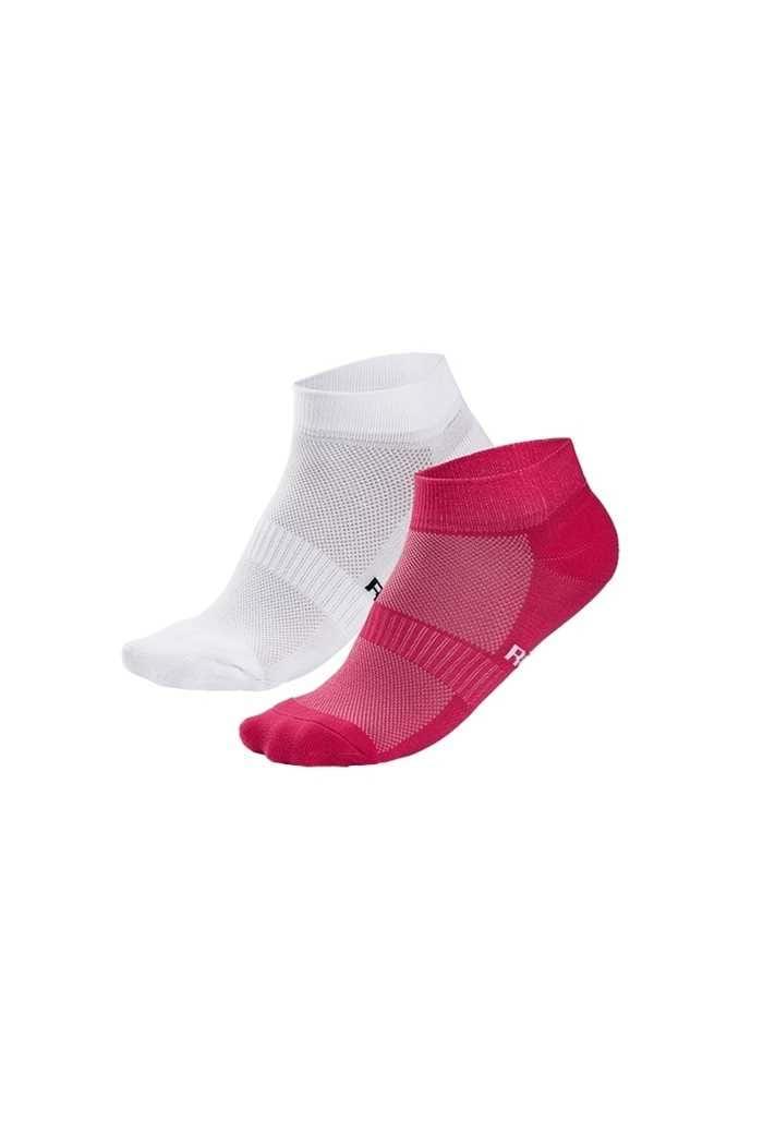 Picture of Rohnish Ladies 2 Pack Short Socks - Fuchsia / White