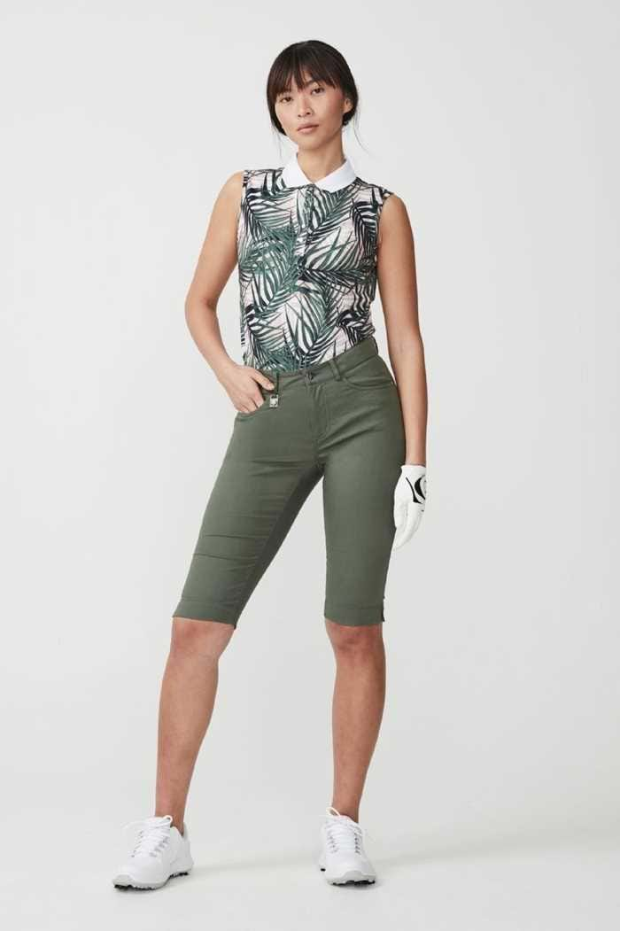Picture of Rohnisch ZNS Palm Green Pirat Pant and Palm Pale Pink Element AOP print sleeveless polo shirt