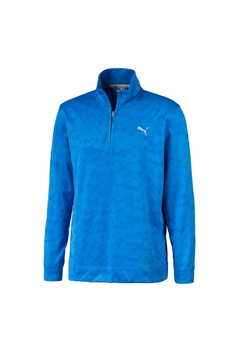 Picture of Puma Golf Men's Alterknit Digi Camo 1/4 Zip Pullover - Ibiza Blue