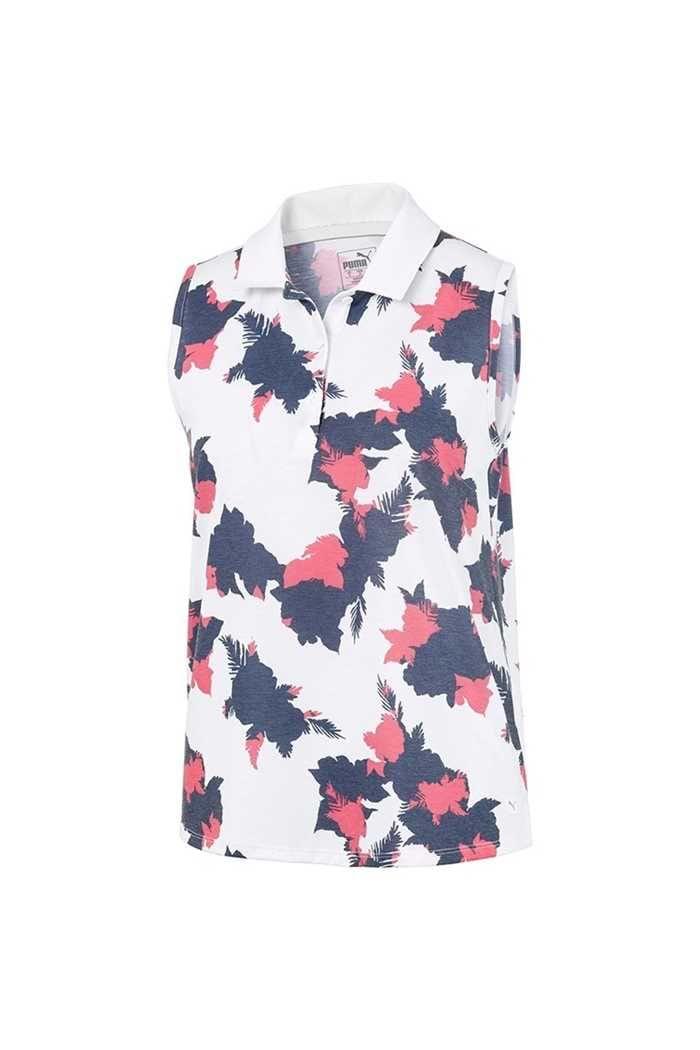 Picture of Puma Golf Women's Floral Sleeveless Polo Shirt - Dark Denim