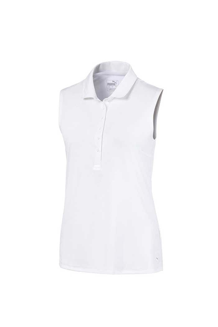 Picture of Puma Golf Women's Rotation Sleeveless Polo Shirt - Bright White