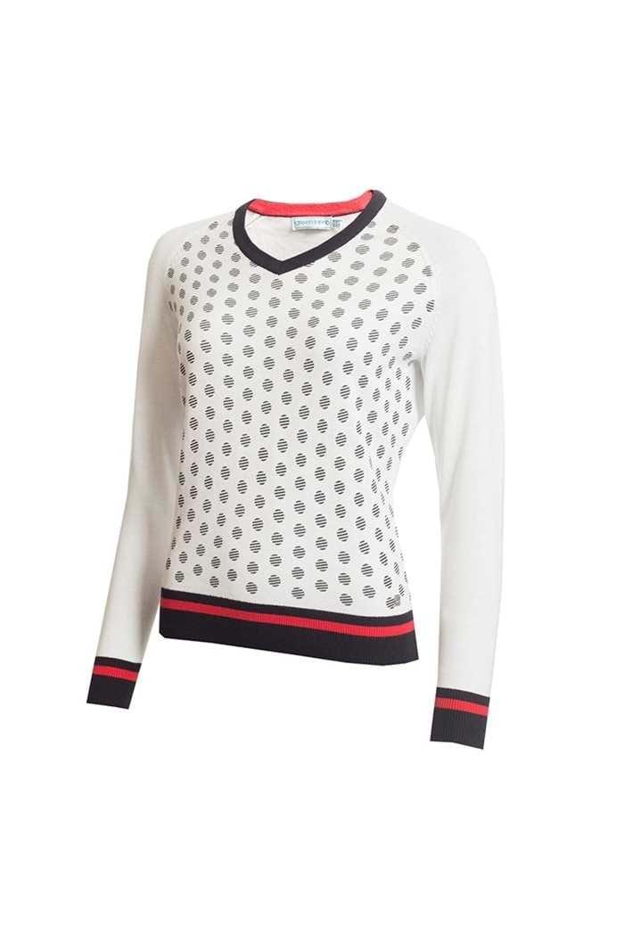 Picture of Green Lamb Ladies Gabriella Mini Spot V Neck Sweater - White / Navy