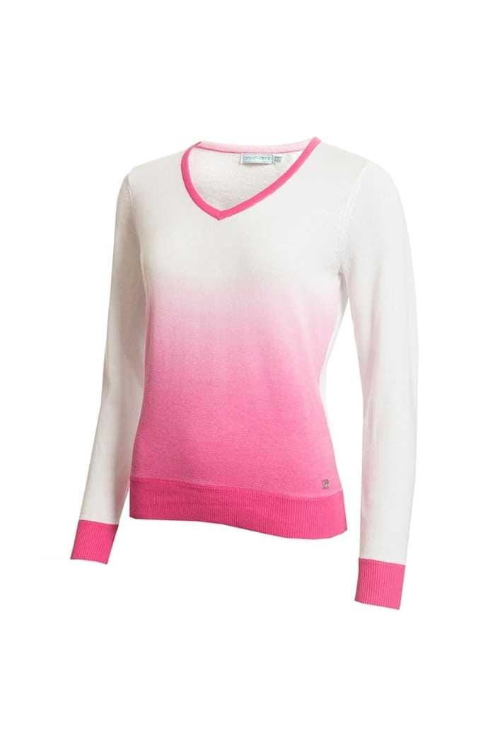 Picture of Green Lamb Ladies Gail Ombre V Neck Sweater - White / Orchid