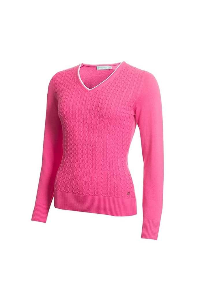 Picture of Green Lamb Ladies Gerda Cable V Neck Sweater - Orchid