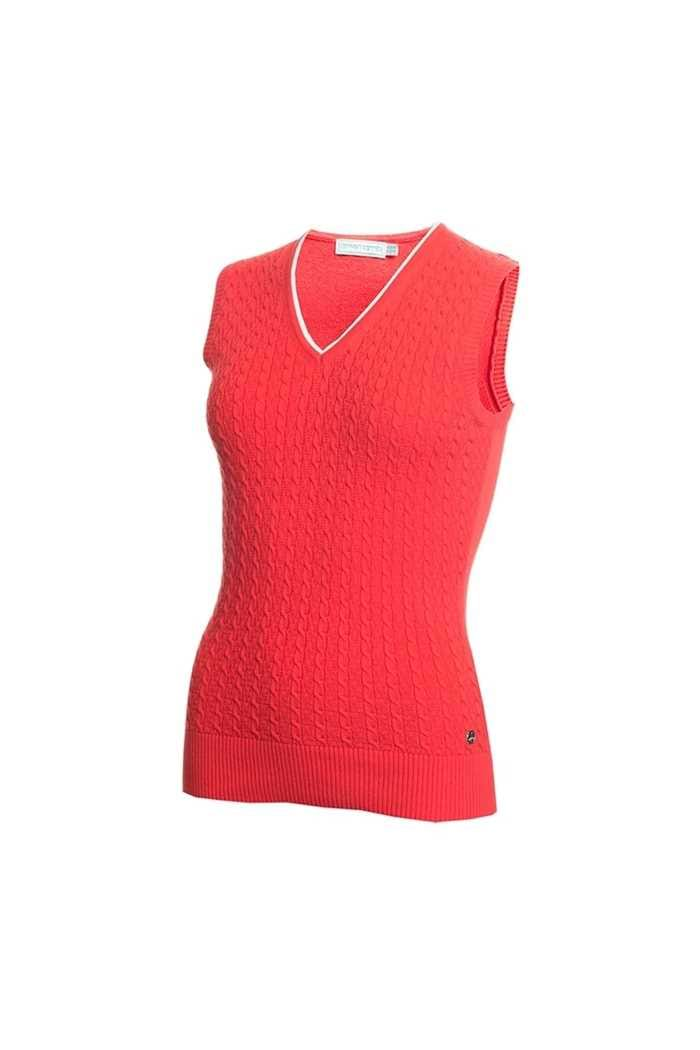 Picture of Green Lamb Ladies Georgette Cable Slipover - Red
