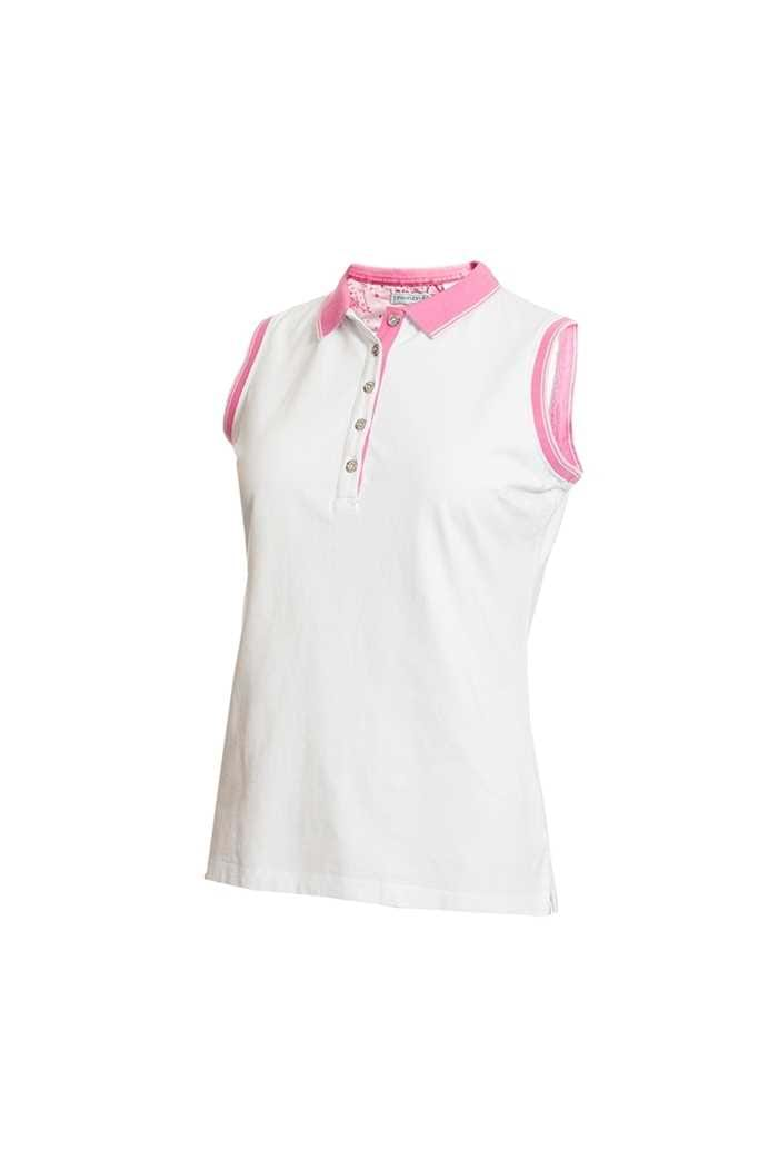 Picture of Green Lamb zns Ladies Pam Jersey Club Sleeveless Polo Shirt - White / Orchid
