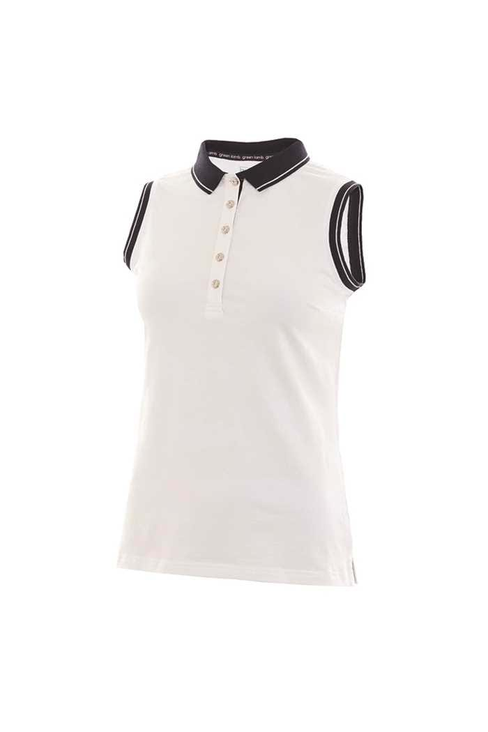 Picture of Green Lamb Ladies Pam Jersey Club Sleeveless Polo Shirt - White / Navy