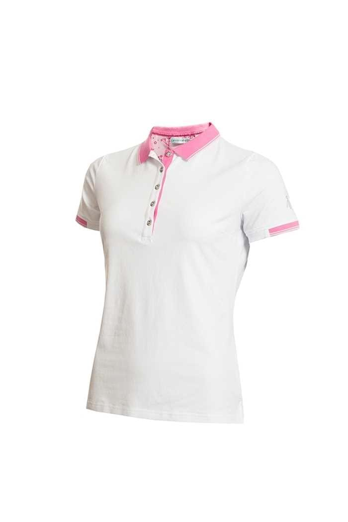 Picture of Green Lamb Ladies Paige Jersey Club Polo Shirt - White / Orchid