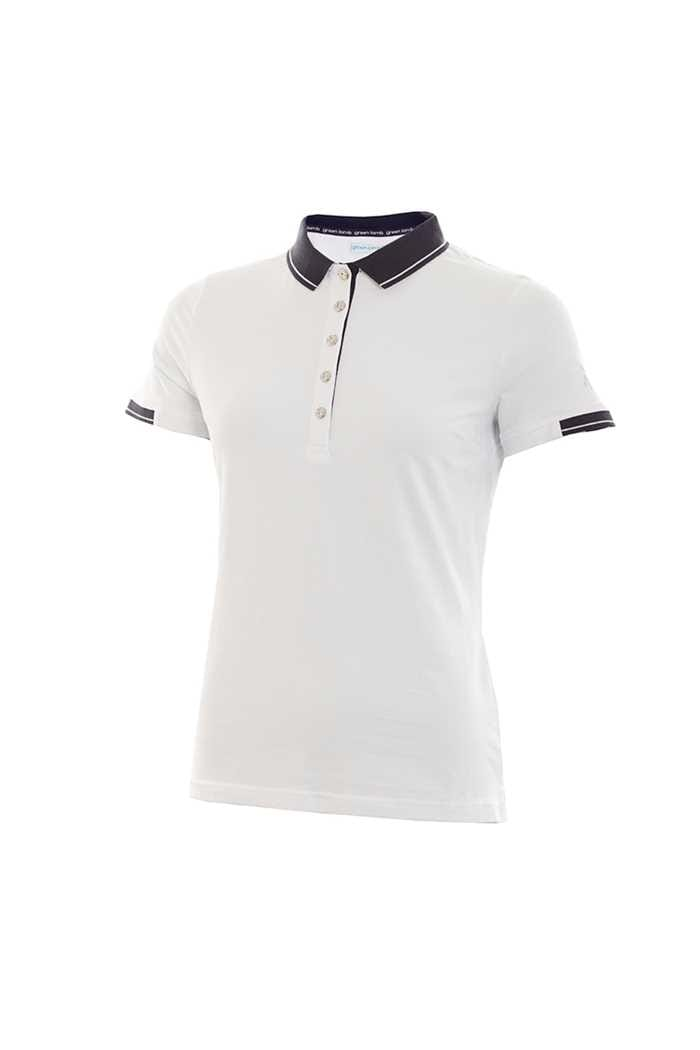 Picture of Green Lamb Ladies Paige Jersey Club Polo Shirt - White / Navy