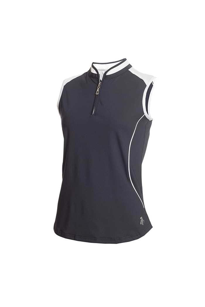 Picture of Green Lamb Ladies Ellis Sleeveless Zip Neck Polo Shirt - Navy / White