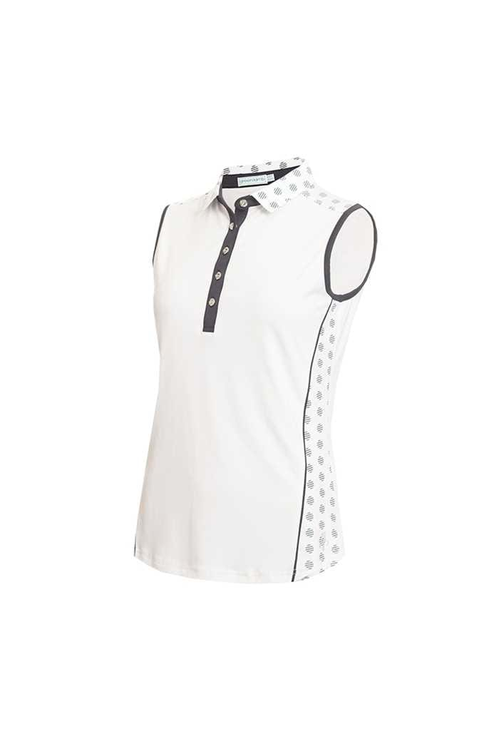 Picture of Green Lamb Ladies Edie Sleeveless Panel Print Polo Shirt - White / Navy