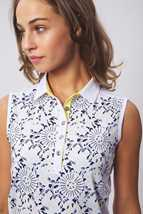 Picture of Green Lamb Ladies Edie Sleeveless Panel Print Polo Shirt - Sunburst