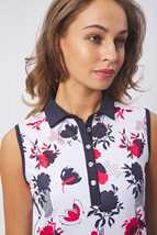 Picture of Green Lamb Ladies Edie Sleeveless Panel Print Polo Shirt - Floral