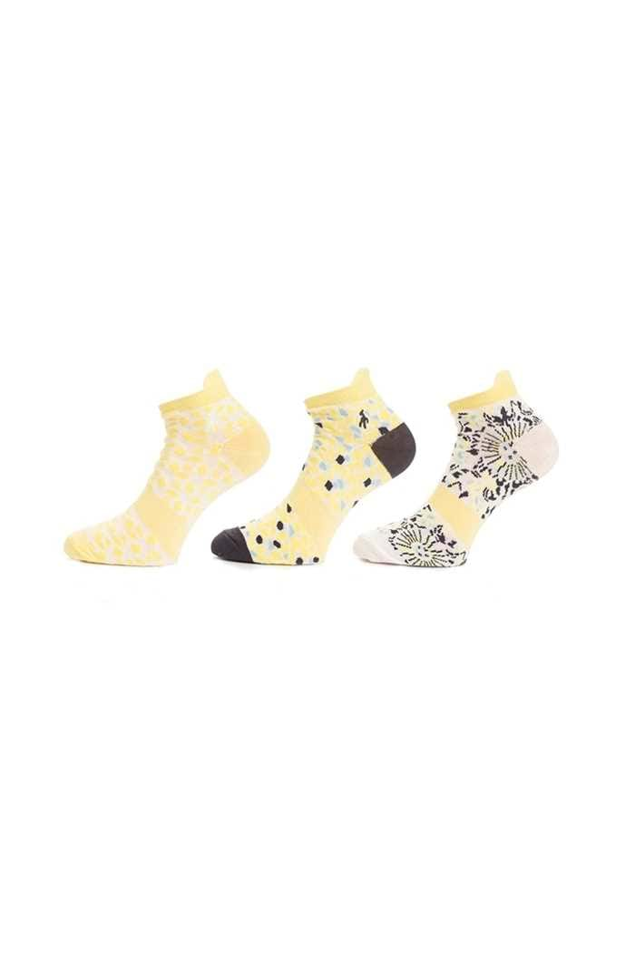 Picture of Green Lamb zns Ladies Patterned Golf Socks - 3 Pack - Sunshine / Navy