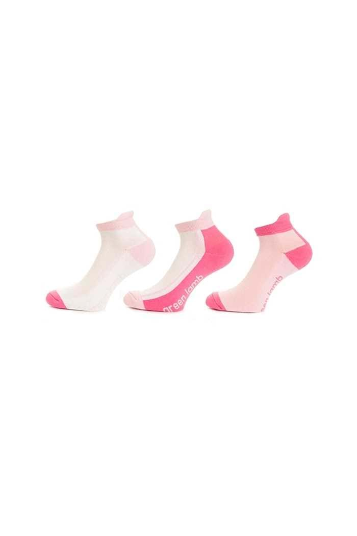 Picture of Green Lamb zns Ladies Colour Block Socks - 3 Pack - Blossom / Orchid
