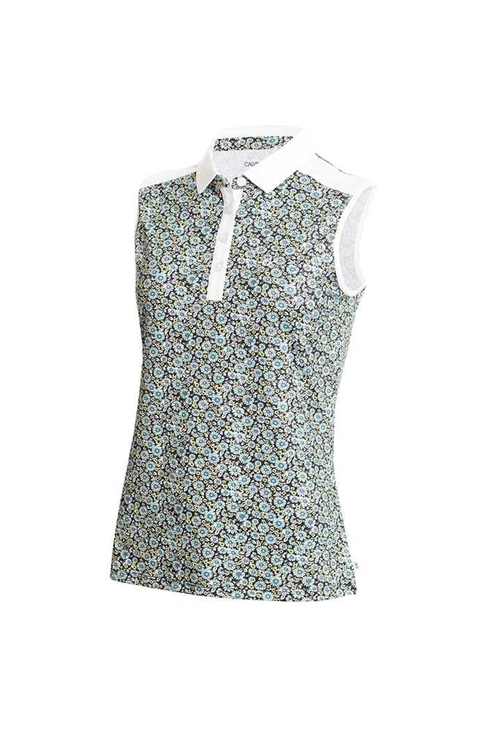 Picture of Calvin Klein Catalina Sleeveless Polo Shirt - Aqua / Black