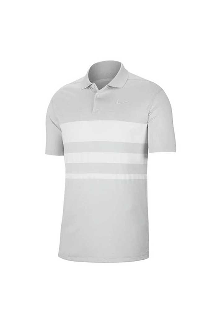 Picture of Nike Golf Dri-FIT Vapor Stripe Polo Shirt - Pure Platinum / White