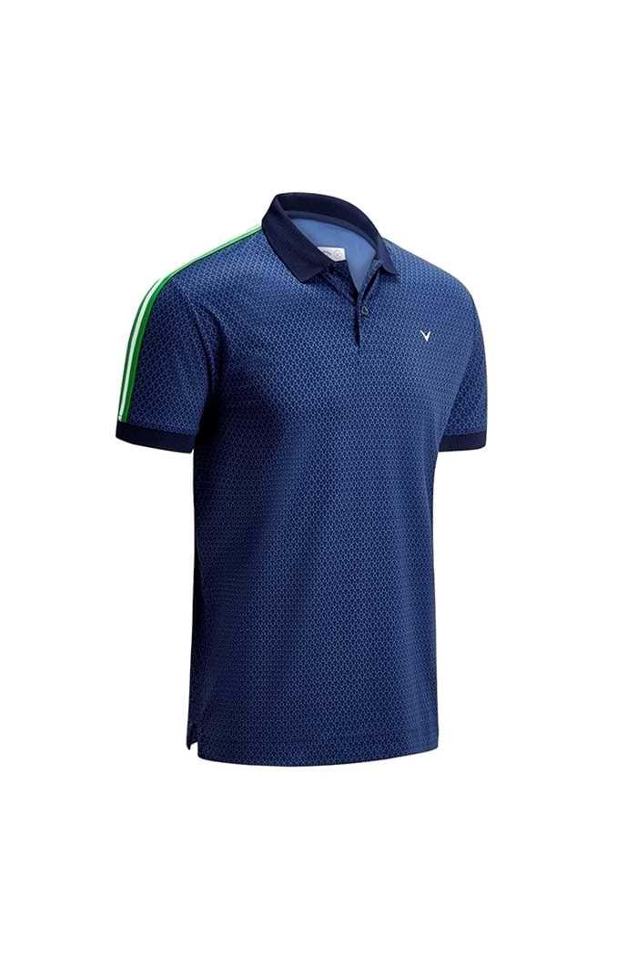 Picture of Callaway Tee Print Polo with Shoulder Taping - Dress Blues