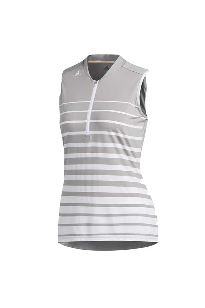Picture of adidas Womens Engineered Sleeveless Polo Shirt - White / Mid Soft Grey