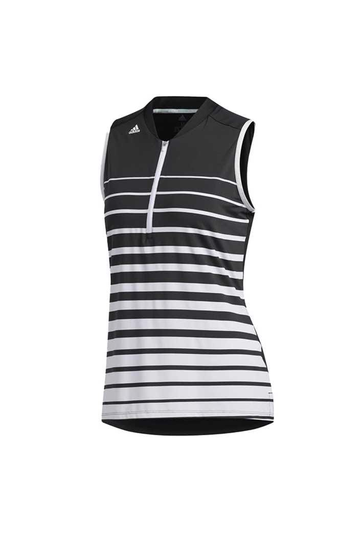 Picture of adidas zns Womens Engineered Sleeveless Polo Shirt - Black / White