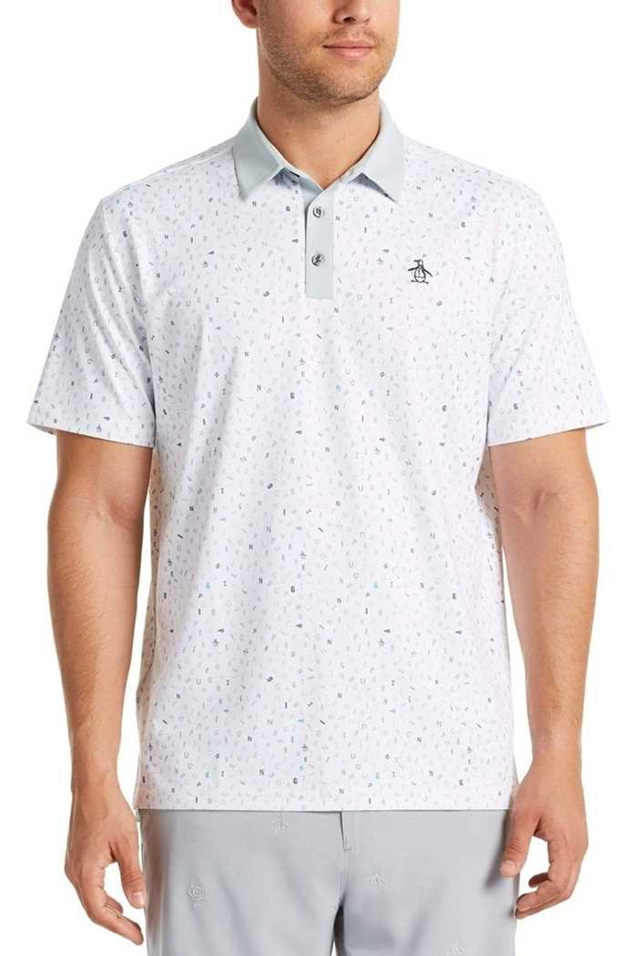 Picture of Original Penguin Spelling Pete Printed Polo Shirt - Bright White