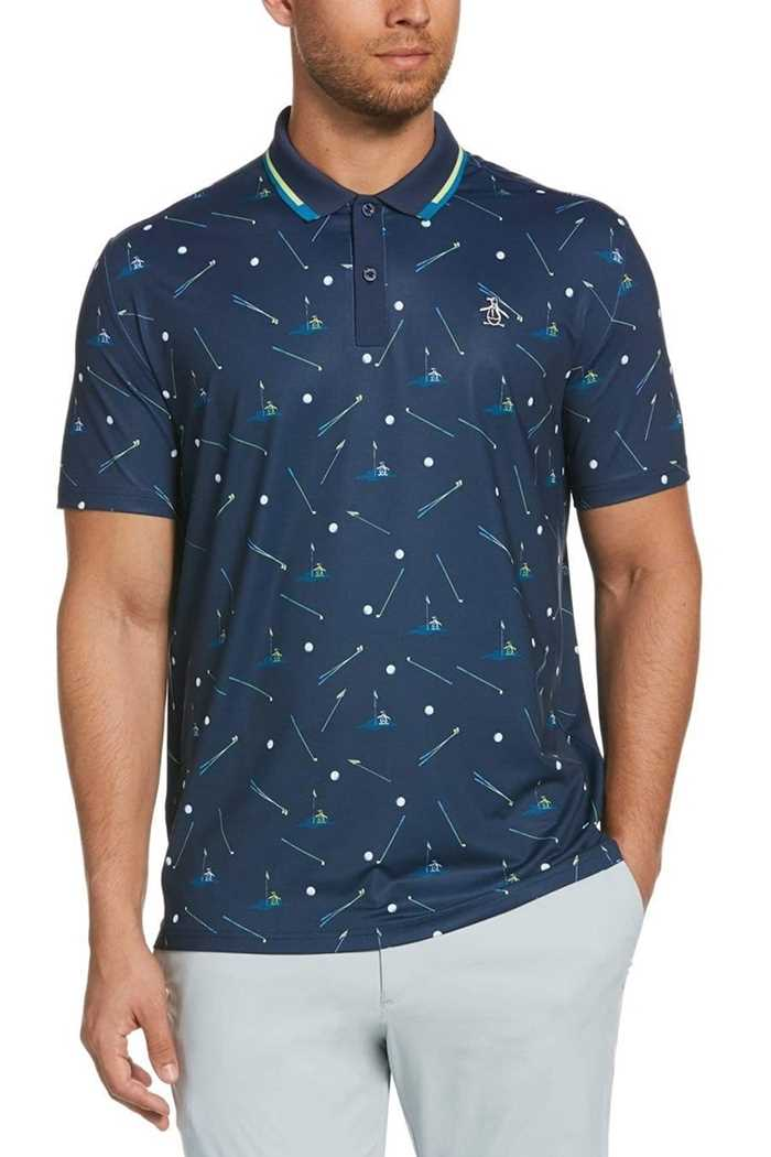 Picture of Original Penguin Pete on the Green Printed Polo Shirt - Black Iris