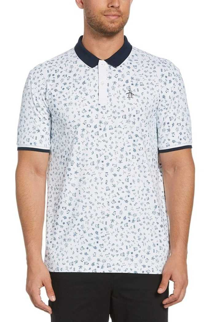 Picture of Original Penguin Clubhouse Printed Polo Shirt - Bright White