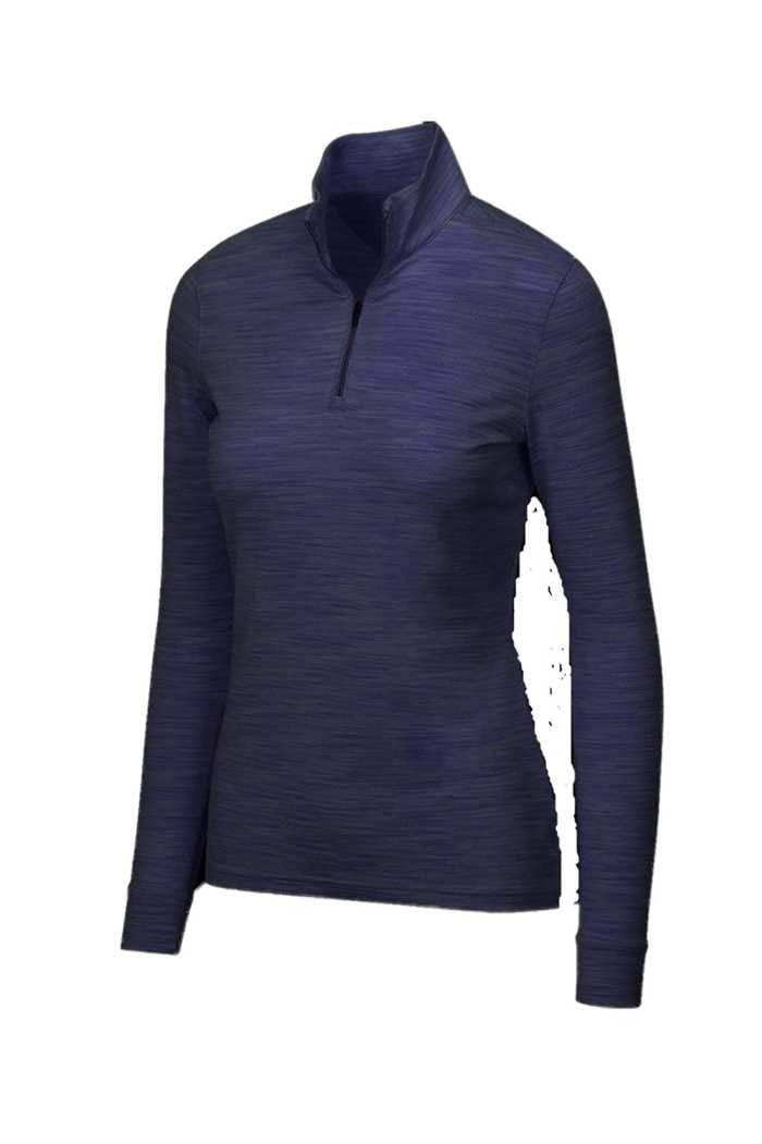 Picture of Greg Norman Long Sleeve Heathered Mesh 1/4 Zip Mock - Navy Heather