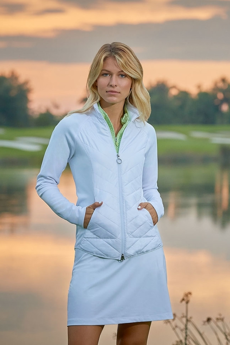 Picture of Greg Norman Chevron Quilted Cire Jacket - Bliss Blue