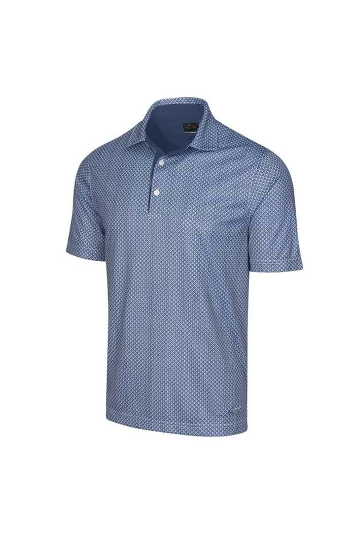 Picture of Greg Norman ML75 2Below Fin Print Polo Shirt - Navy